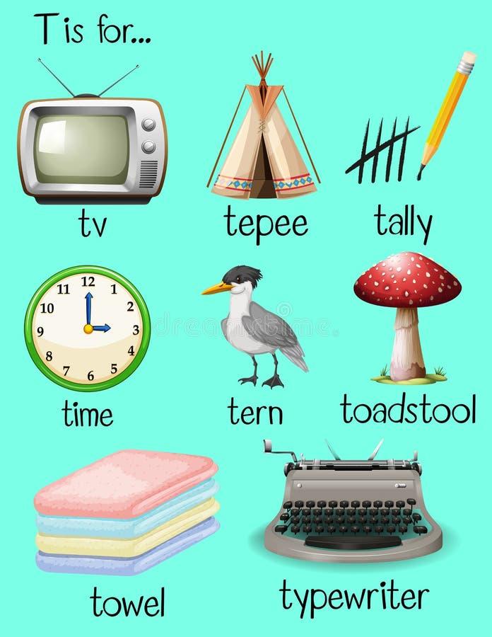 Molte parole cominciano con la lettera T royalty illustrazione gratis