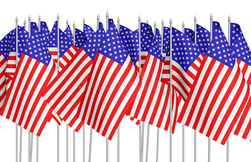 Molte piccole bandiere americane nella fila isolate su bianco illustrazione vettoriale
