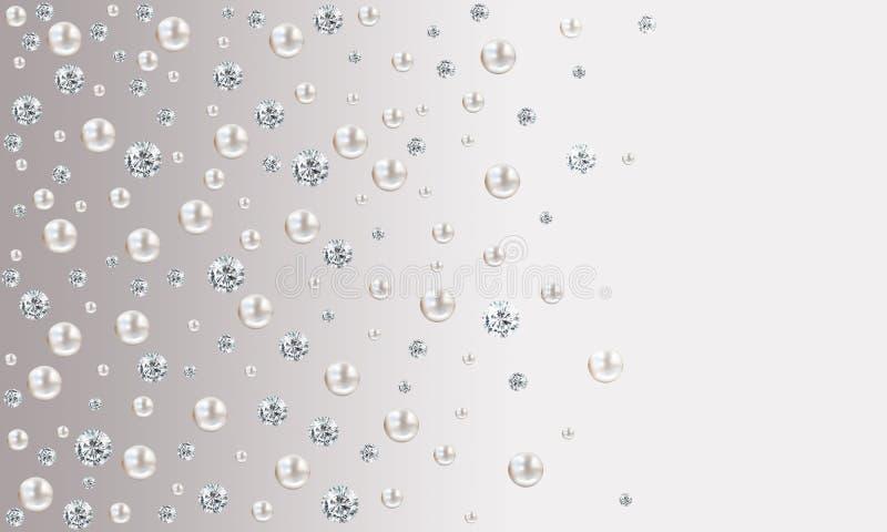 Molte piccole e grandi perle bianche sul backgroun grigio del raso di pendenza illustrazione vettoriale