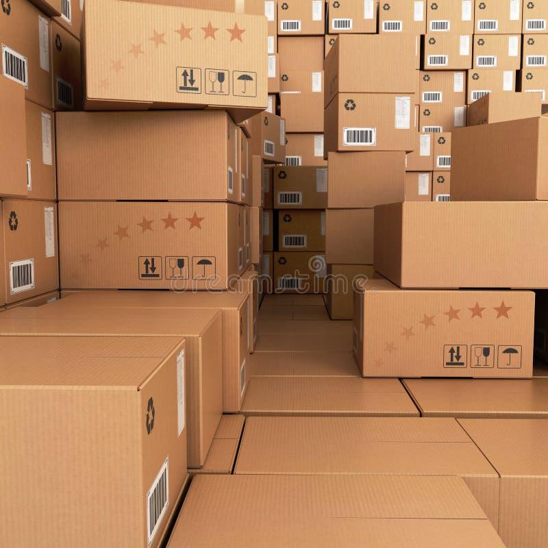 Molte pile di scatole di cartone, fotografia stock