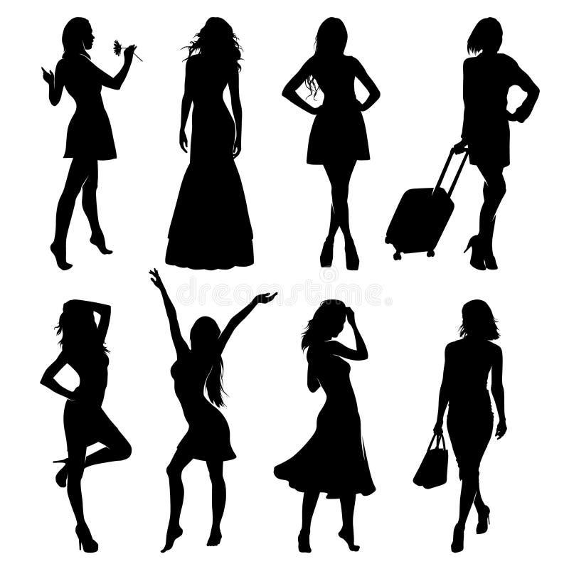 Molte siluette del nero di vettore di belle donne su fondo bianco immagini stock