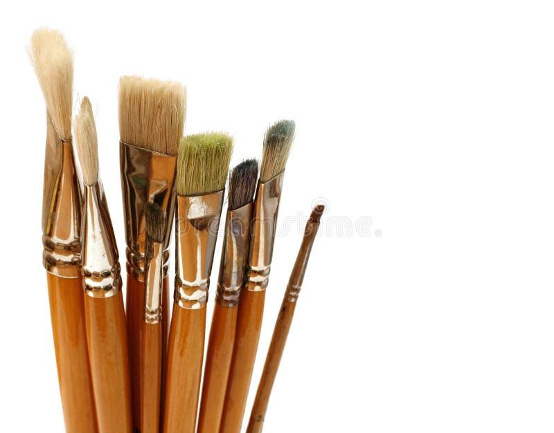 Molte spazzole per la pittura fotografia stock libera da diritti