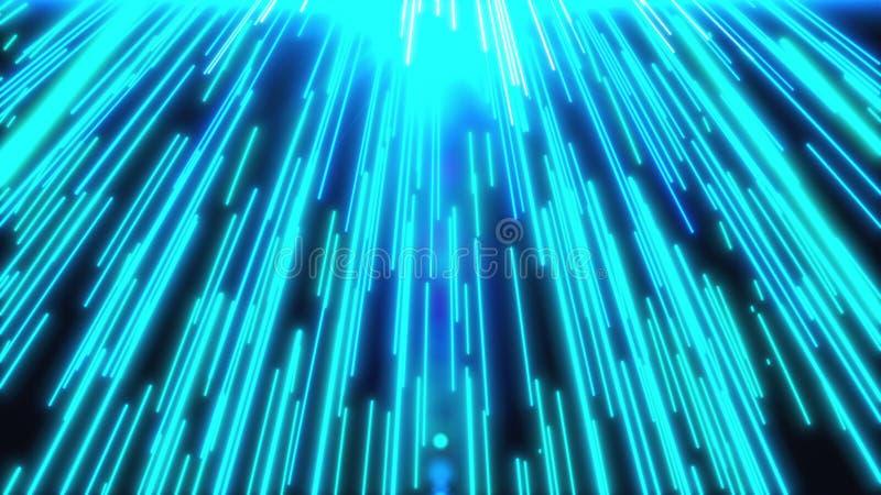 Molte strisce blu come mosso durante il rapido fondo generato da computer, luci della strada di città di notte illustrazione di stock