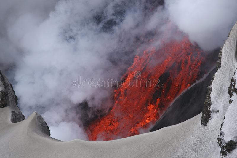 Molten lava flowing from Eyjafjallajokull Fimmvorduhals Iceland stock photography