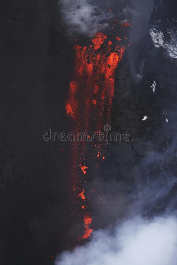 Molten lava flowing from Eyjafjallajokull Fimmvorduhals Iceland royalty free stock photos