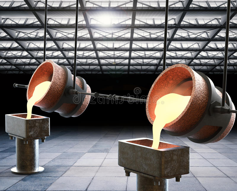 Molten metal. 3d rendering molten metal pouring into mould stock image