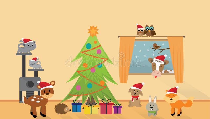 Molti animali felici con l'albero di Natale fotografie stock