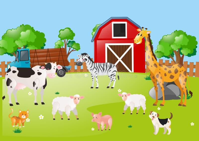 Molti animali nel cortile illustrazione di stock
