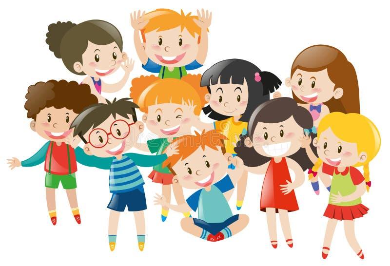 Molti bambini con il fronte felice illustrazione di stock