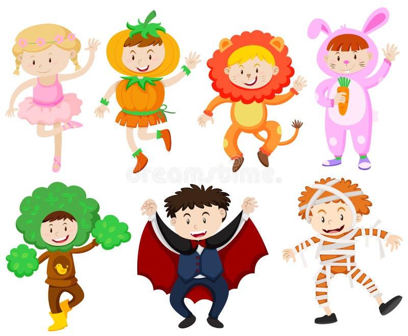 Molti bambini in costumi differenti royalty illustrazione gratis