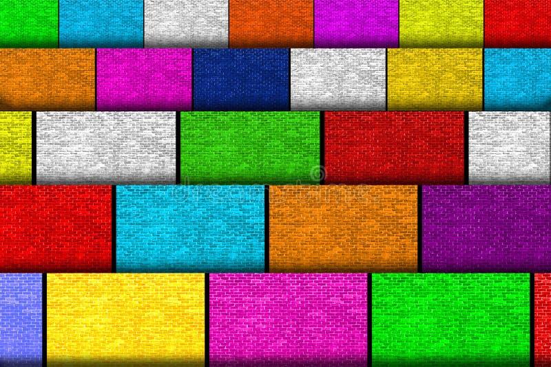 Molti cartoni variopinti con struttura del muro di mattoni immagini stock libere da diritti