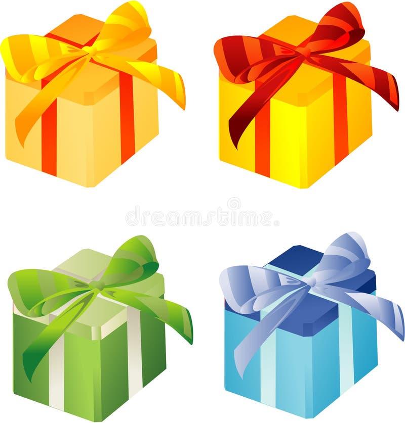 Molti colorano i giftboxes illustrazione vettoriale