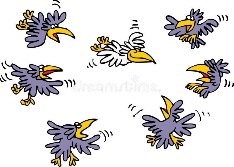 Molti corvi del nero e soltanto corvo bianco illustrazione di stock