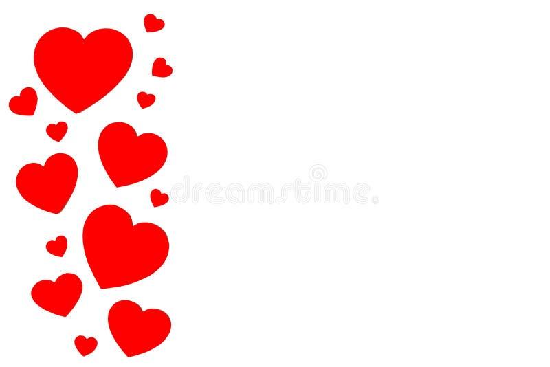 Molti cuori di carta rossi nella linea nella forma di telaio decorativo su fondo bianco con lo spazio della copia Simbolo del gio fotografie stock