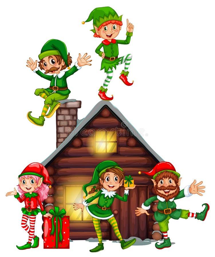 Molti elfi sulla cabina illustrazione di stock