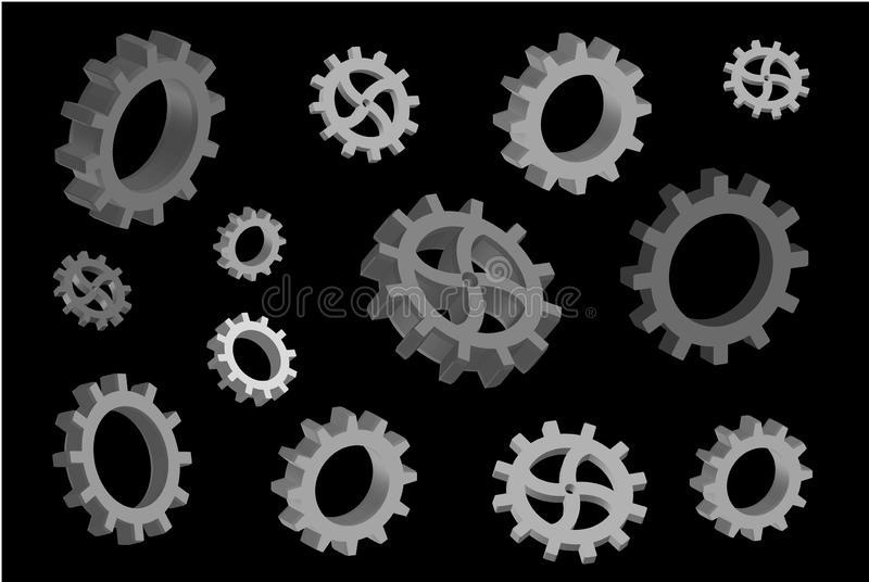 Molti ingranaggi volumetrici su un fondo nero fotografia stock