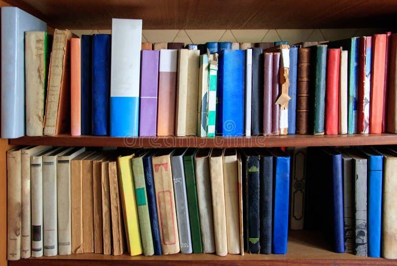 Molti libri differenti sono sugli scaffali immagine stock libera da diritti