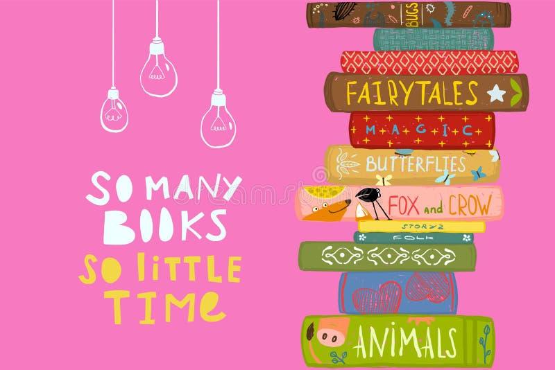 Molti libri poca progettazione di citazione di tempo illustrazione vettoriale