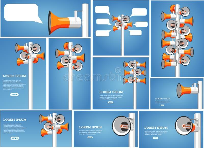 Molti megafoni appendono sul vettore del palo royalty illustrazione gratis