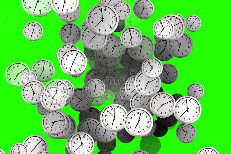 Molti orologi che scorrono, tempo di svegliare per la prima colazione, bianco moderno illustrazione vettoriale
