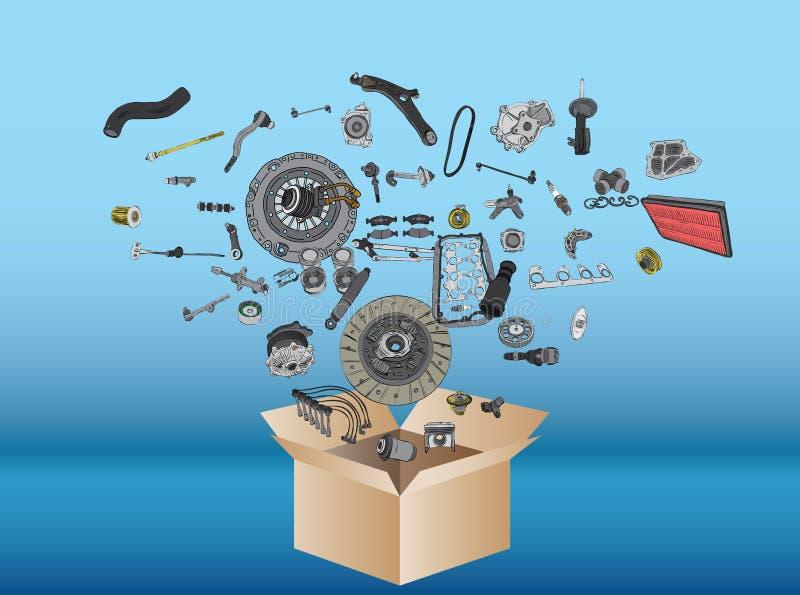 Molti pezzi di ricambio che volano dalla scatola illustrazione vettoriale