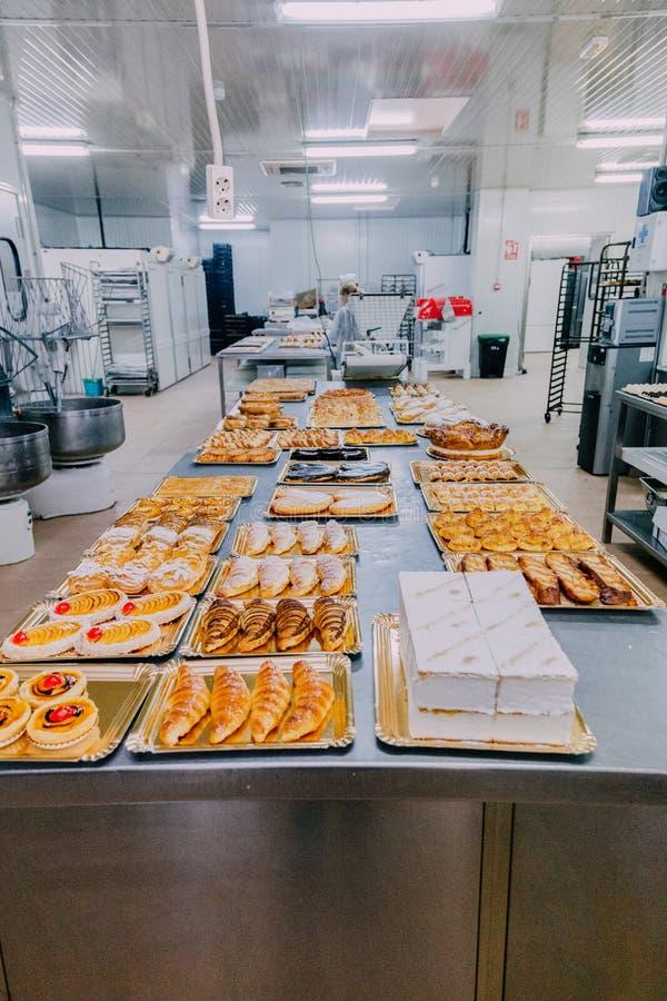 Molti piatti pronti sulla tavola del metallo di una fabbrica dell'alimento fotografie stock