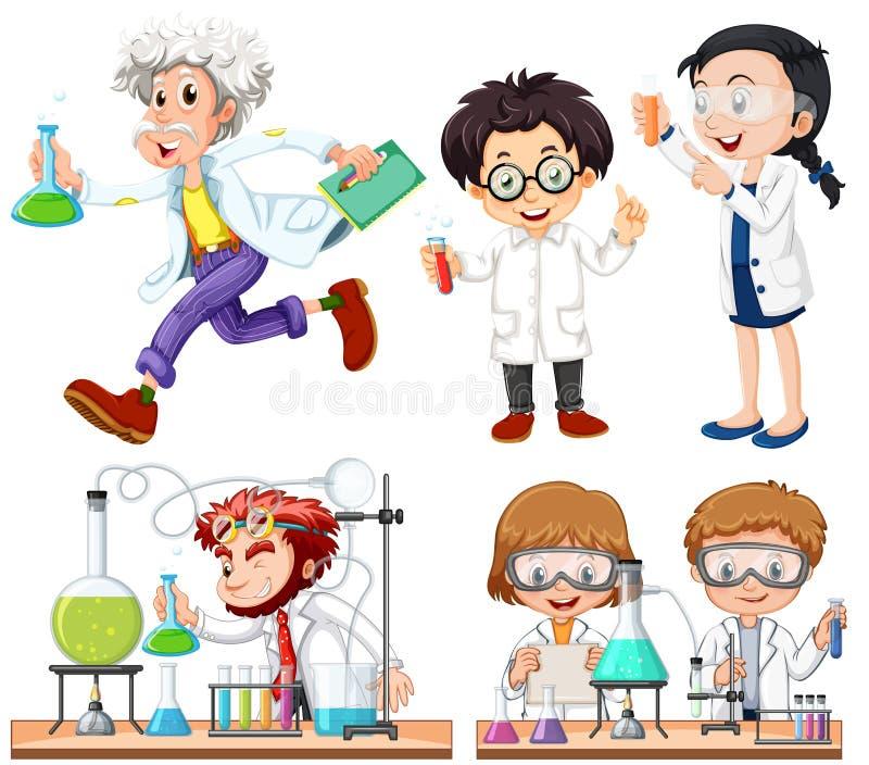 Molti scienziati che fanno esperimento illustrazione di stock