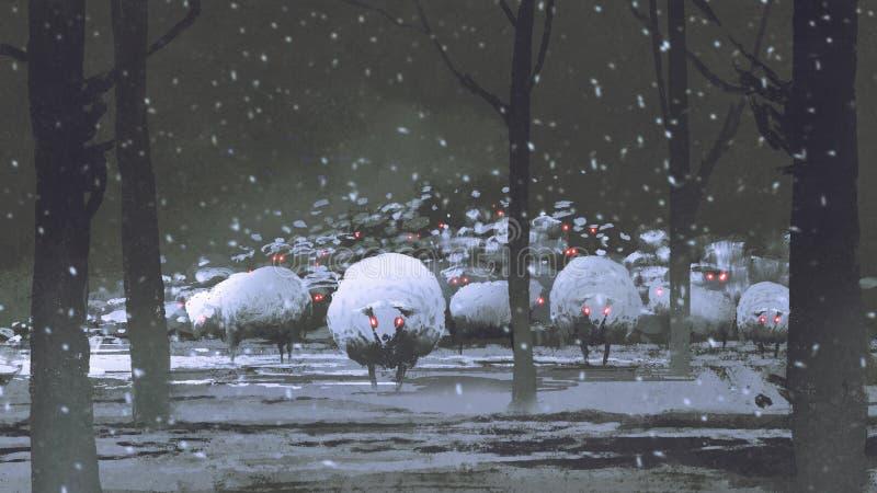Moltitudine di pecore del demone nel paesaggio di inverno illustrazione di stock