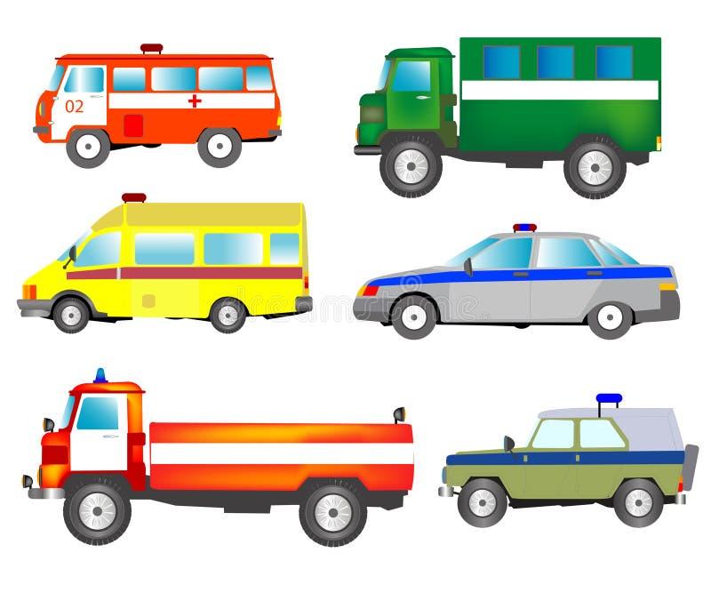 Molto automobili dei servizi speciali illustrazione vettoriale