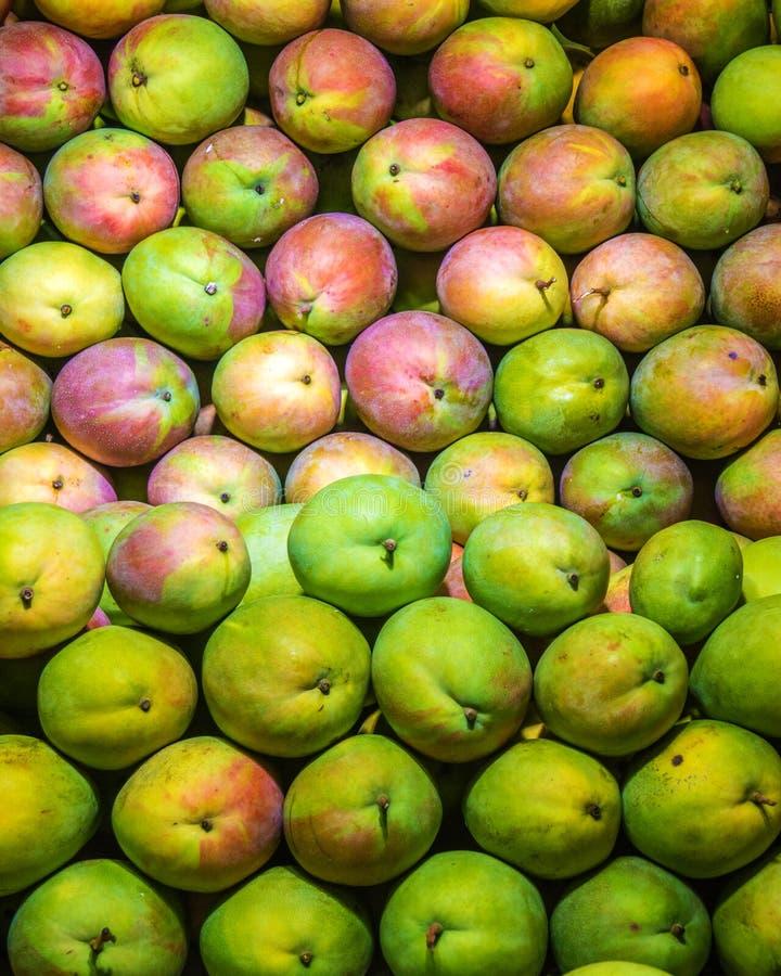 Molto bella bugia del mango su un contatore della vetrina in pieno del mango verde e maturo fotografia stock