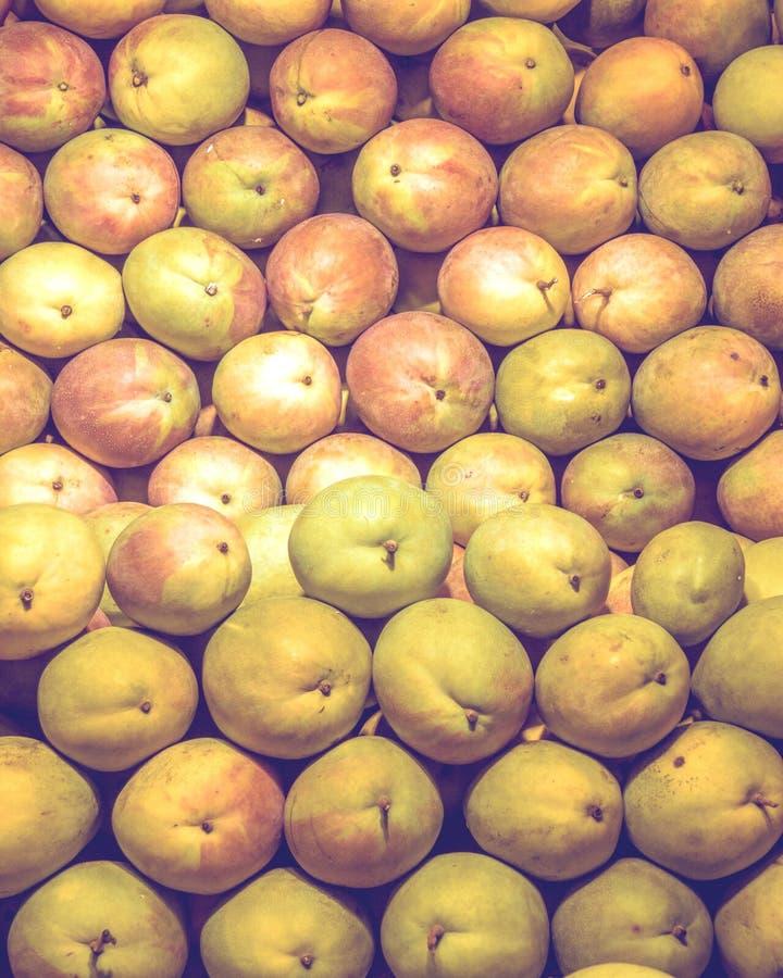 Molto bella bugia del mango su un contatore della vetrina in pieno del mango verde e maturo immagine stock libera da diritti