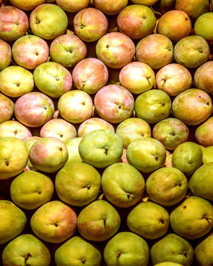 Molto bella bugia del mango su un contatore della vetrina in pieno del mango verde e maturo immagine stock