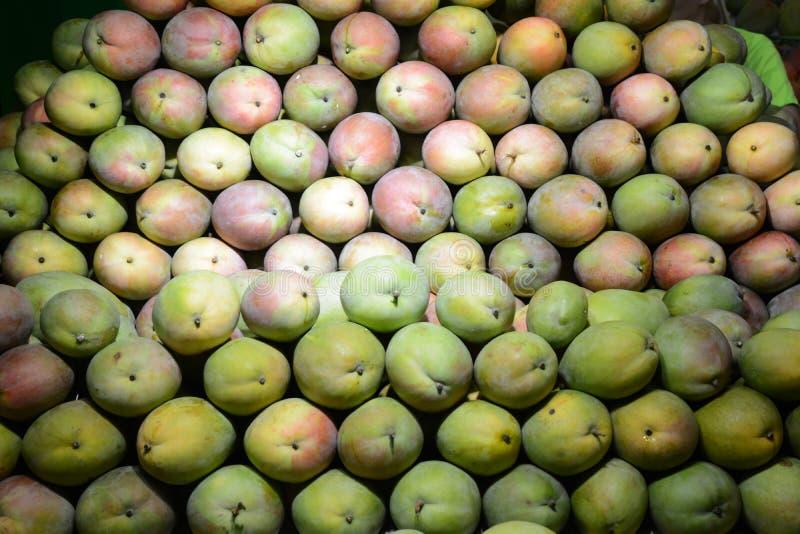 Molto bella bugia del mango su un contatore della vetrina in pieno del mango verde e maturo immagini stock