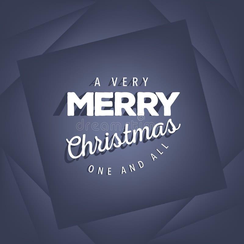 Molto Buon Natale sul blu illustrazione vettoriale