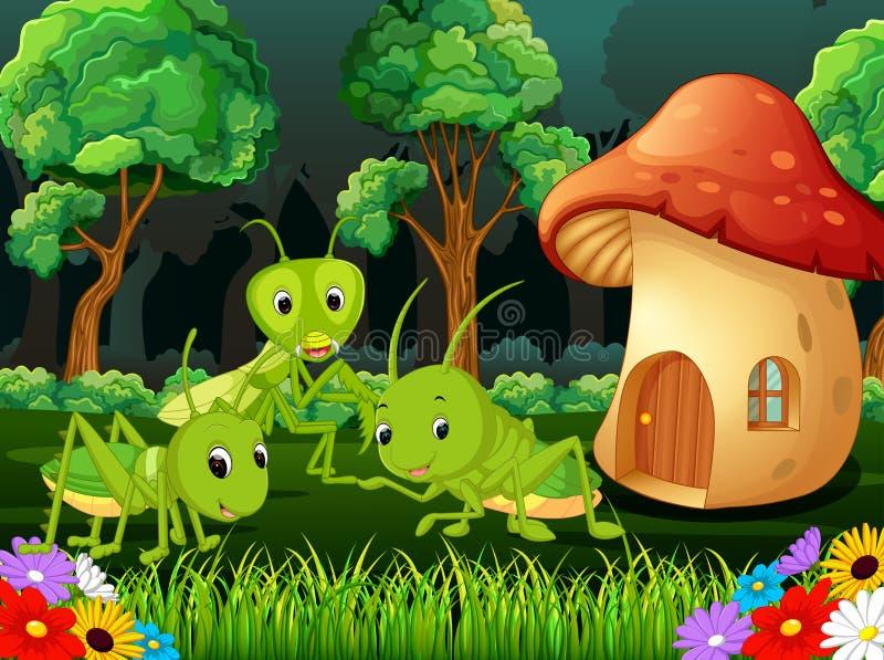 Molto cavalletta e una casa del fungo in foresta royalty illustrazione gratis