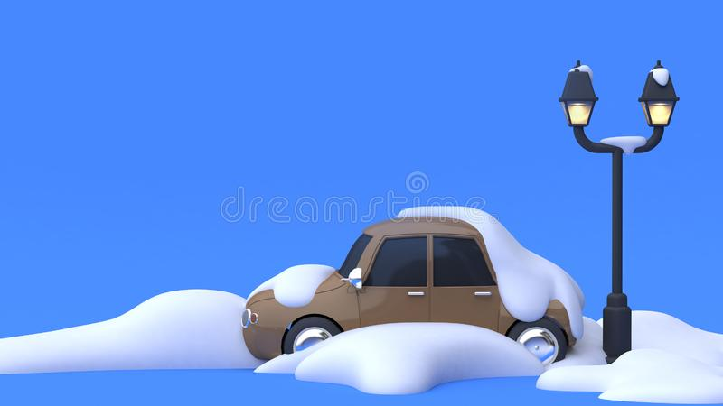 molto concetto astratto 3d della natura di inverno di stile del fumetto del fondo blu del parcheggio della lampada della neve ren illustrazione di stock