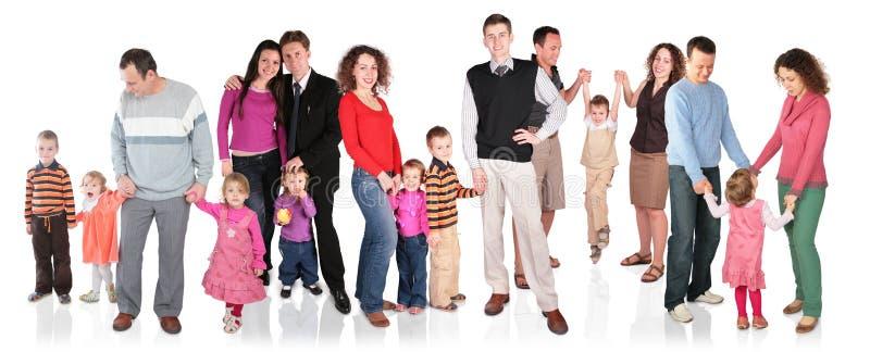 Molto famiglia con il gruppo dei bambini isolato immagini stock