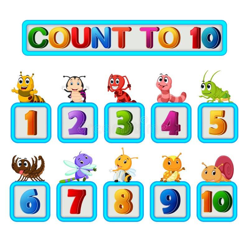 Molto insetto e numeri uno - dieci illustrazione di stock