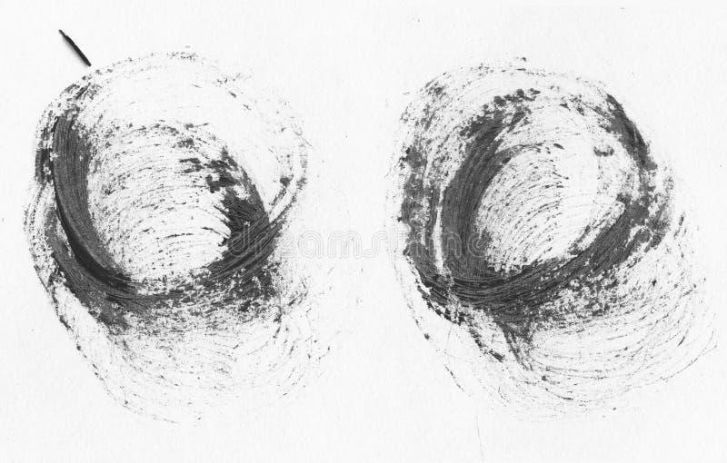 MOLTO risoluzione di ALTEZZA Insegne realistiche dei colpi del cerchio disegnato a mano nero dell'olio illustrazione vettoriale