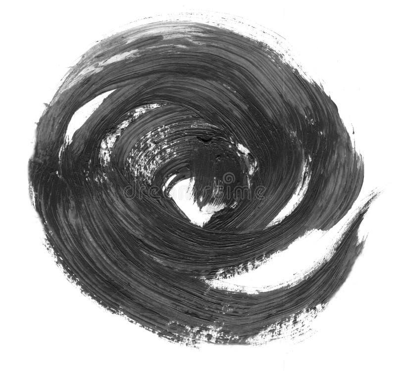 MOLTO risoluzione di ALTEZZA Insegne realistiche dei colpi del cerchio disegnato a mano nero dell'olio royalty illustrazione gratis