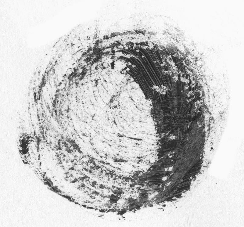 MOLTO risoluzione di ALTEZZA Insegne realistiche dei colpi del cerchio disegnato a mano nero dell'olio illustrazione di stock