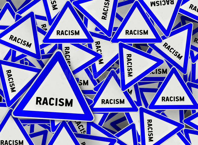 Molto segnale stradale del triangolo di razzismo illustrazione di stock