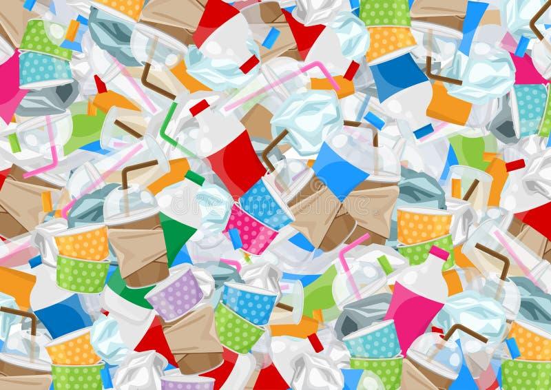 Molto spreco dell'immondizia di plastica nella vista superiore per fondo, il mucchio delle bottiglie di plastica e lo spreco dell illustrazione vettoriale