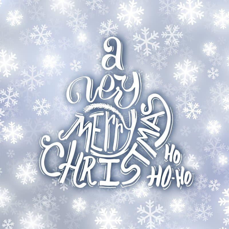 Molto tipografia di Buon Natale Cartolina d'auguri illustrazione vettoriale
