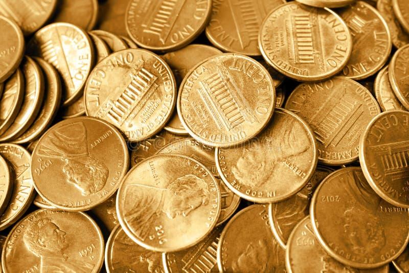 Molto U.S.A. brillante le monete da un centesimo come fondo fotografia stock libera da diritti
