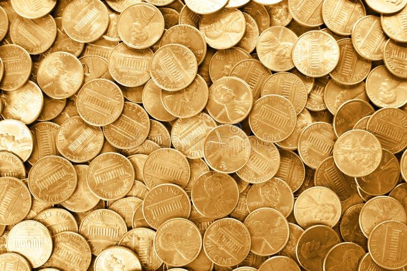 Molto U.S.A. brillante le monete da un centesimo come fondo fotografia stock