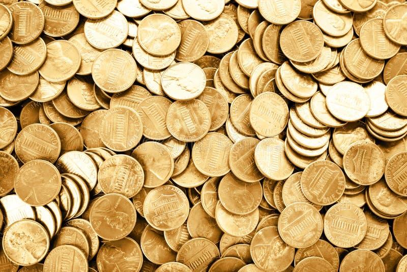 Molto U.S.A. brillante le monete da un centesimo come fondo fotografie stock