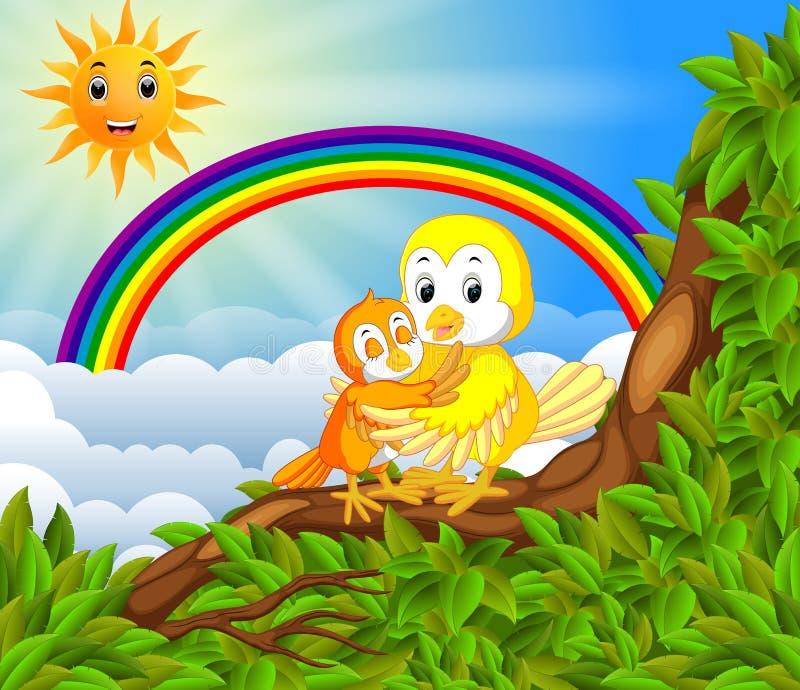 Molto uccello sul ramo di albero con la scena dell'arcobaleno royalty illustrazione gratis