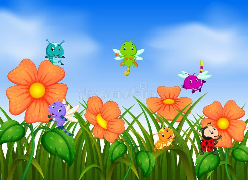 Molto volo dell'insetto nel giardino floreale illustrazione di stock
