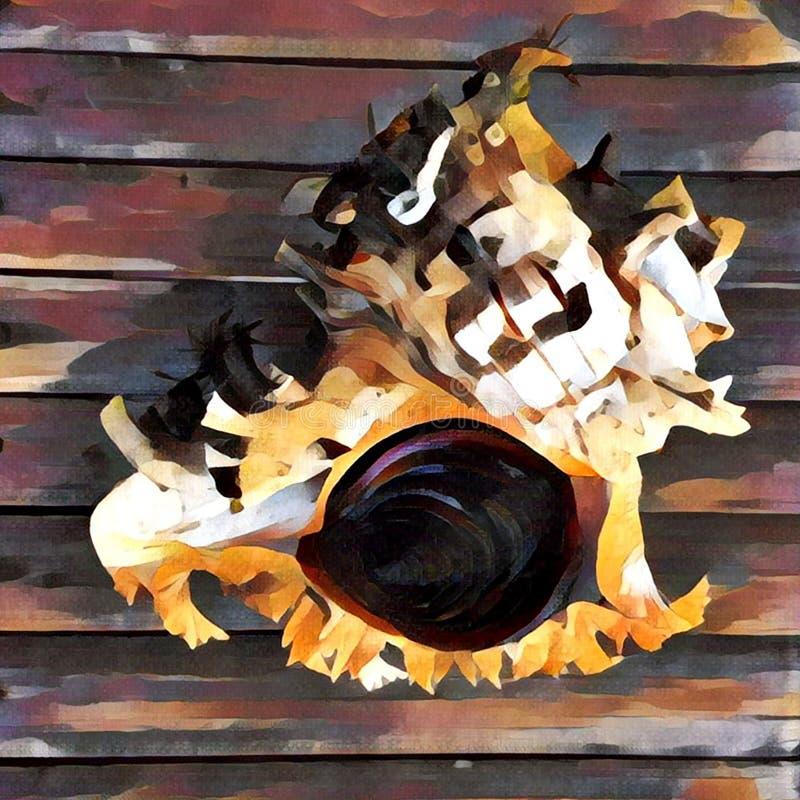 Molusco del mar con el ejemplo digital de la cáscara del estilo espiral de la pintura ilustración del vector